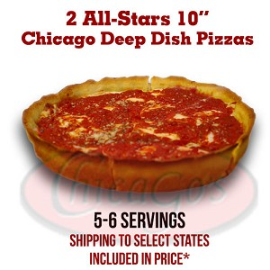 "Two 10"" Deep Dish Pizza All-Stars, 5-6 servings."