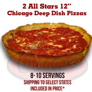 "Two 12"" Deep Dish All-Stars, 8-10 servings."