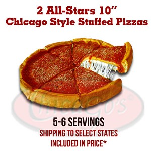 "Two 10"" Stuffed Pizza All-Stars, 5-6 servings."